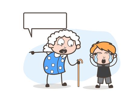 Cartoon Grandma Threatening to Her Grand Child Vector Illustration