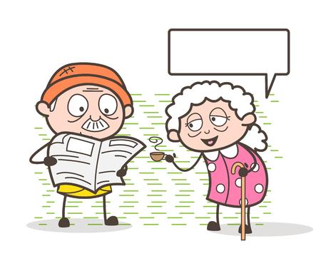 taker: Cartoon Grandma Giving Hot Tea to Grandpa - Fresh Morning Vector Illustration Illustration