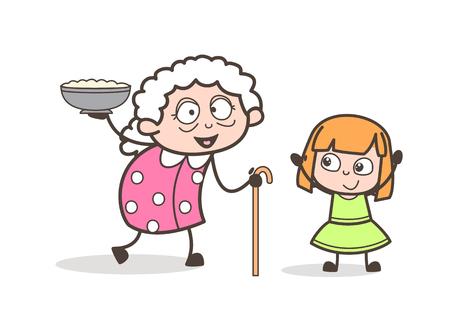 Cartoon Granny Presenting Dish to Her Granddaughter Vector Illustration Illustration
