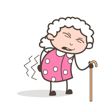 Cartoon Granny Having Pain in the Waist Vector Illustration