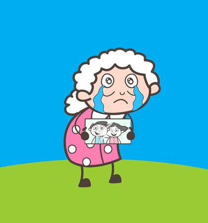 Cartoon Sad Granny Remembering and Crying for Their Grand Children Vector Illustration