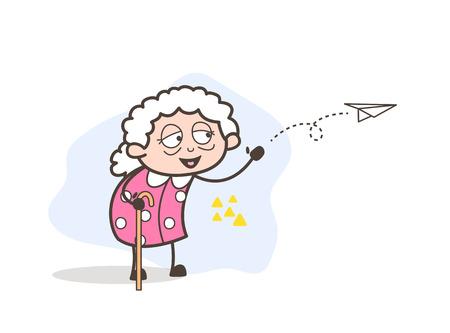 Cartoon Grandma Sending Message Through Paper Plane Vector Illustration