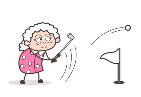 Cartoon Granny Playing Golf Sport Vector Illustration