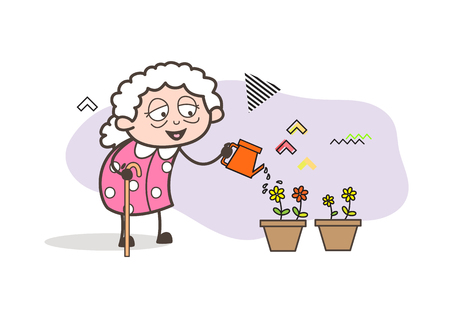 Cartoon Grand Mother Spraying Water to Flowers Vector Illustration