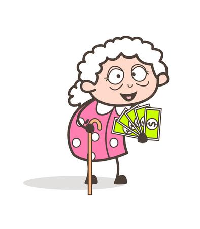 Cartoon Granny Showing Money Vector Illustration Illustration