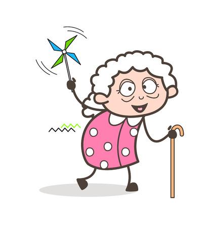 Cartoon Joyful Granny Character Vector Illustration