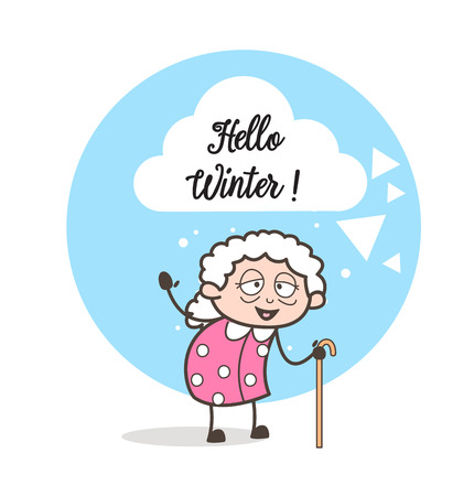 Cartoon Happy Granny Gesturing Vector Illustration