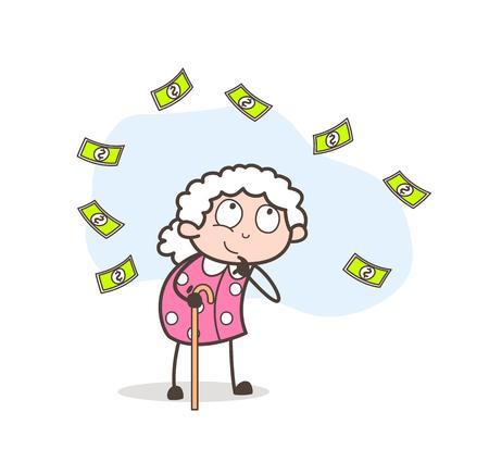 Cartoon Granny Thinking of Money Vector Illustration