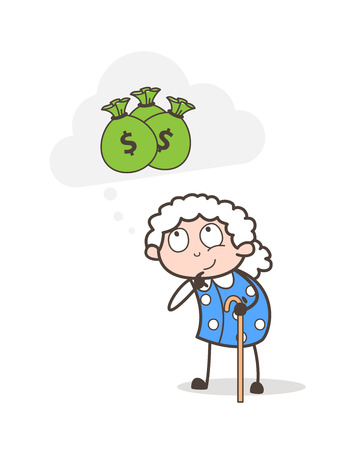 Cartoon Poor Old Woman Thinking about Money Vector Illustration 向量圖像