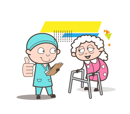 Cartoon Surgeon Showing Good Medical Report to Old Woman Vector Illustration Illustration