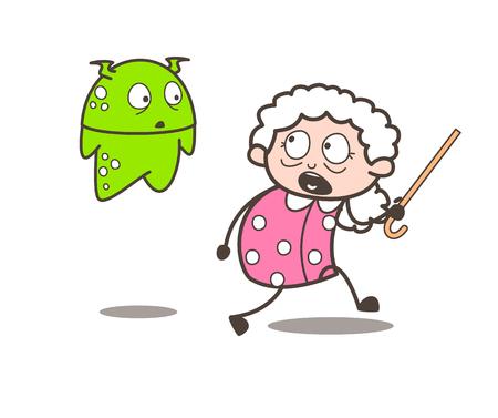 Cartoon Scared Granny with Alien Vector Illustration