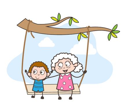 Cartoon Grandmother Swing with Grandson Vector Illustration Illustration