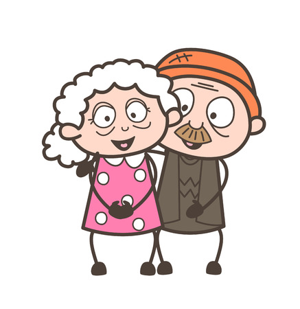 Cartoon Old Age Love Couple Characters Vector Illustration