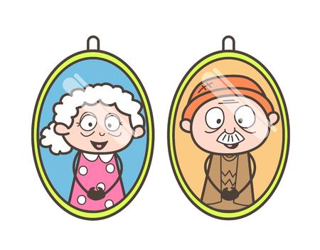 decedent: Cartoon Grandpa and Grandma Pictures Vector Illustration