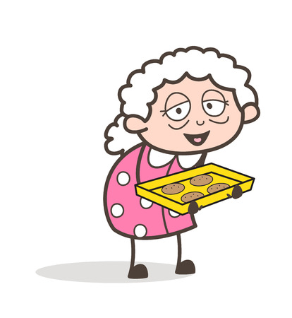 Cartoon Kind Granny Presenting Cookies Vector Illustration