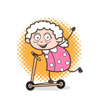 Cartoon Funny Granny Playing Skateboard Vector Illustration