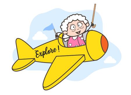 Cartoon Granny Flying Plane Vector Illustration Иллюстрация