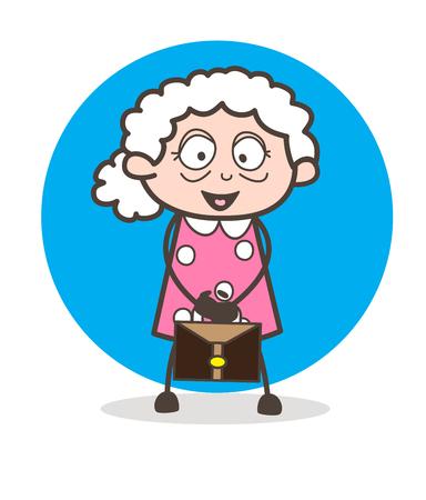 Cartoon Old Businesswoman Vector Illustration