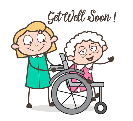 Cartoon Care Taker Nurse with Sick Granny Vector Illustration