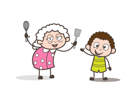 Cartoon Funny Granny Playing with Little Grandson Vector Illustration