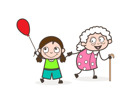 Cartoon Little Girl Playing with Grandmother Vector Illustration