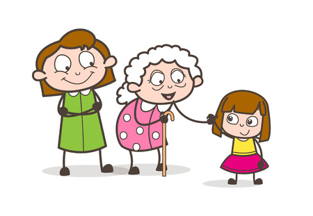 Cartoon Grandmother with Daughter and Granddaughter Vector Illustration