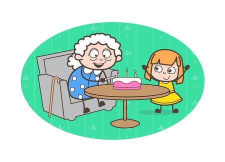 Cartoon Grandmother Celebrating Birthday with Granddaughter Vector Illustration Illustration