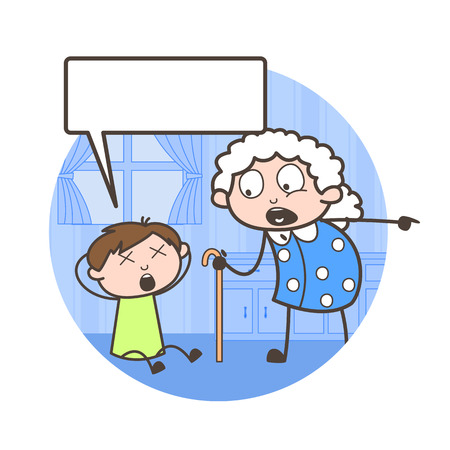 Cartoon Grand Mother Scolding to Her Grandson Vector Illustration
