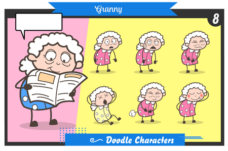 Cartoon Old Lady Face Expressions and Poses Vector Set Vector Illustration