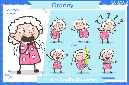 Set of Comic Character Granny Expressions Vector Illustrations Vettoriali
