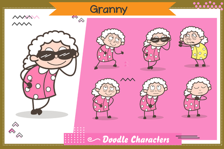 Cartoon Grandmother Various Expressions and Actions Set Vector Illustration Иллюстрация