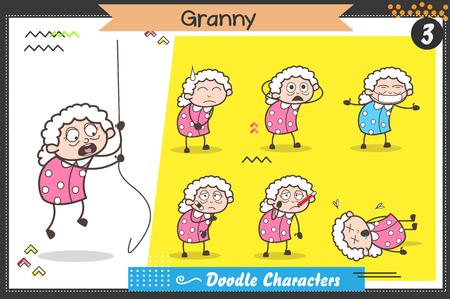 Cartoon oude dame tekens verschillende poses en gezichtsuitdrukkingen Vector Set Vector Illustratie