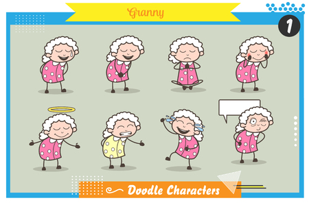 Cartoon Granny Character Various Expressions Vector Set