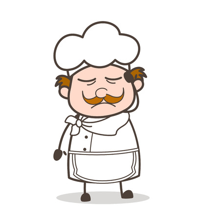 Cartoon Depressed Chef Expression Vector Illustration