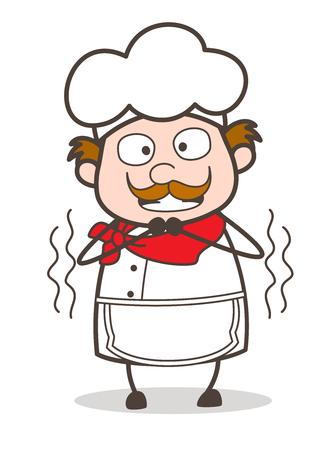 Cartoon Old Chef Shivering Vector Illustration