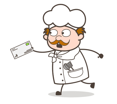 Cartoon Chef in Hurry to Deliver the Letter Vector Illustration Illustration