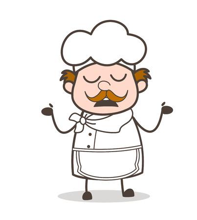 Cartoon Chef Showing Empty Hands Vector Concept Vectores