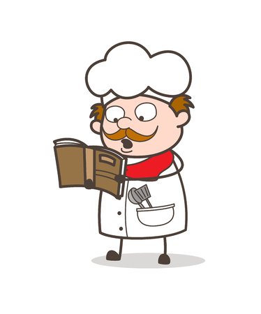 Cartoon Chef Reading Recipe Book for Cooking