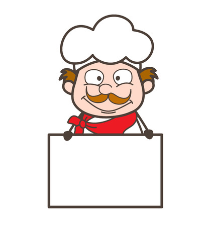 cooky: Cartoon Cooky with Ad Banner Vector Illustration
