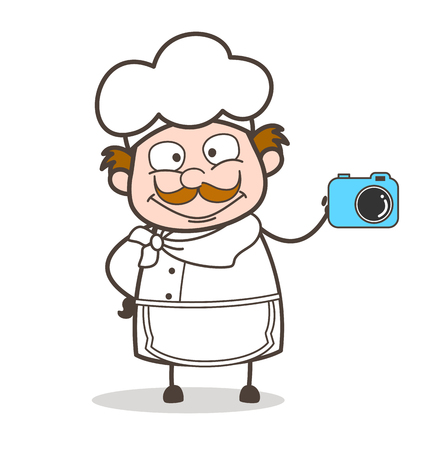 Cartoon Chef with Digital Camera Vector Illustration