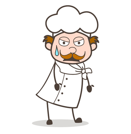 Cartoon Tired Chef Expression Vector Illustration