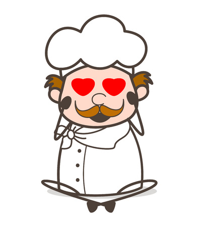 Cartoon Funny Chef Smiling Face with Heart-Eyes Vector