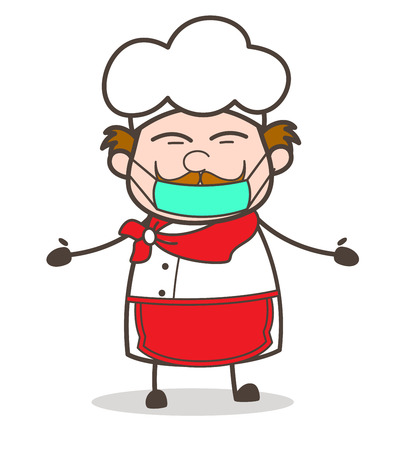 Cartoon Chef Face with Medical Mask Vector Illustration