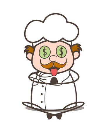 Cartoon Old Chef Money-Mouth Face Vector Illustration Ilustrace