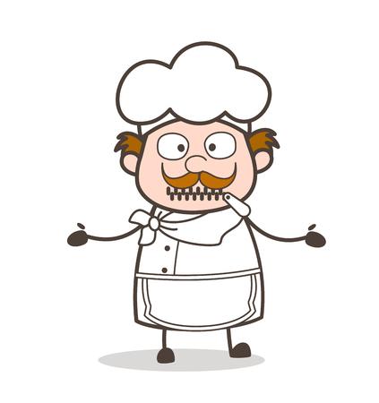 Cartoon Helpless Chef Zipper-Mouth Face Illustration