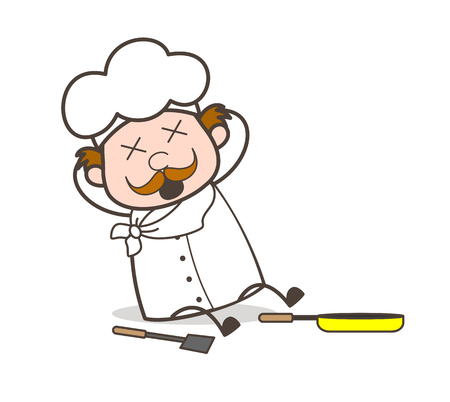 hushed: Cartoon Chef Sliped and Fell Down Vector Illustration Illustration