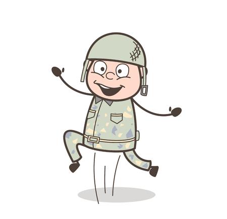 Cartoon Old Guy Running Pose Vector Illustration Иллюстрация