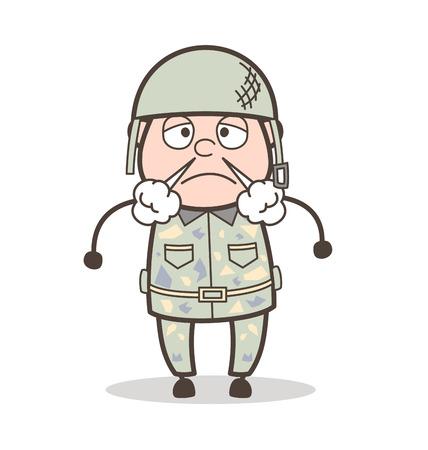 Cartoon Grandpa Unhappy Expression Vector Illustration Illustration