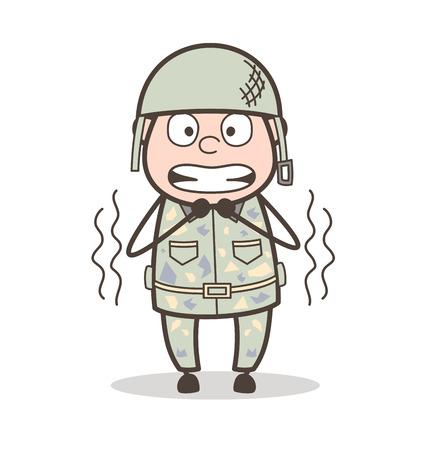 Cartoon Innocent Grandpa Calm Expression Vector Illustration