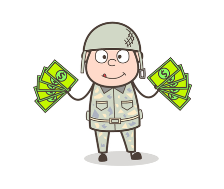 Cartoon Old Father Dizzy Facial Expression Vector Illustration